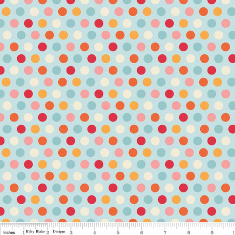 Just Dreamy 2 Dots Blue - Riley Blake Designs - Polka Dots - Jersey KNIT cotton lycra spandex stretch fabric