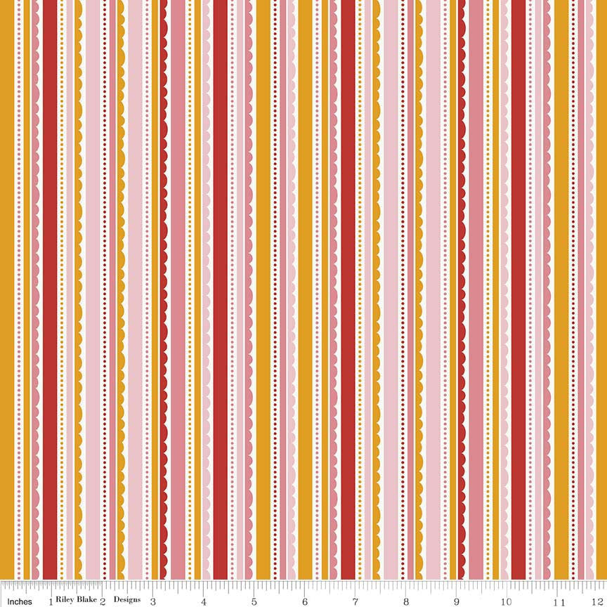 SALE Happy Day Stripes Pink - Riley Blake Designs - Stripe Red Orange White Lace Scallop - Quilting Cotton Fabric - choose your cut