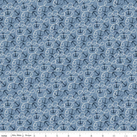 By the Sea Anchor Blue - Riley Blake Designs - Anchors Ocean Nautical - Quilting Cotton Fabric - choose your cut