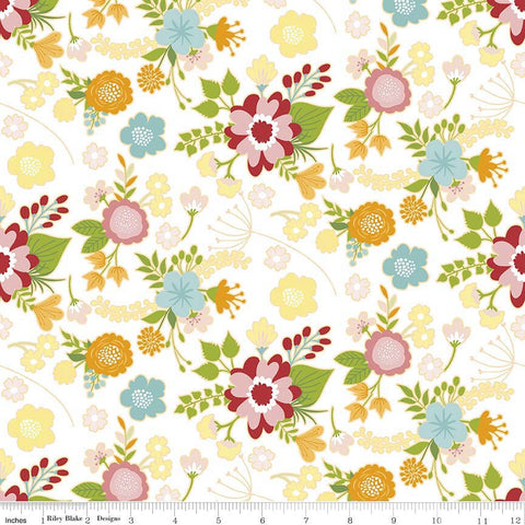 CLEARANCE Wistful Winds Main White - Riley Blake Designs - Floral Flowers - Quilting Cotton Fabric - by the yard