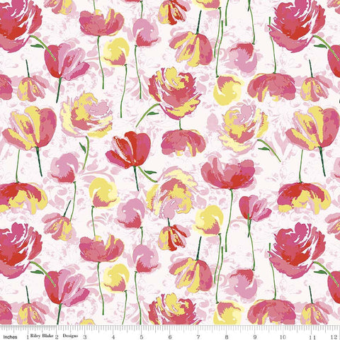 Paige's Passion Toss Pink - Riley Blake Designs - Floral Flowers - Quilting Cotton Fabric - choose your cut