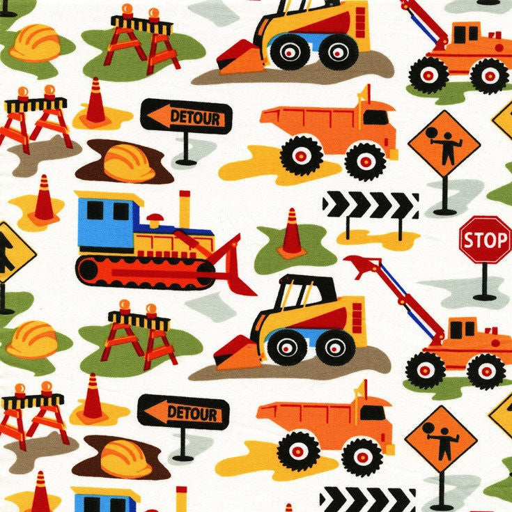 SALE Tot Town Dig It White by Michael Miller - Construction Trucks Bulldozer Orange - Quilting Cotton Fabric - choose your cut