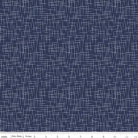SALE Hashtag Large White on Navy - Riley Blake Designs - Blue - Quilting Cotton Fabric