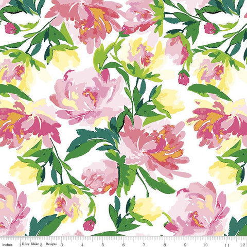 Paige's Passion Main White - Riley Blake Designs - Floral Flowers - Quilting Cotton Fabric - choose your cut