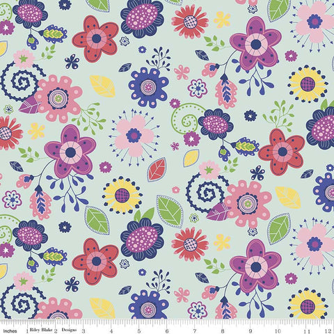Enchanted Main Mint by Riley Blake Designs - Floral Blue Green Pink Purple Flowers - Quilting Cotton Fabric - choose your cut