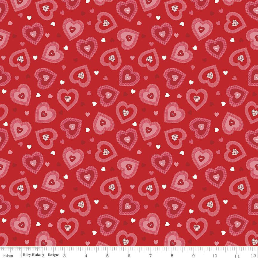 SALE Kewpie Love Hearts Red by Riley Blake Designs - Pink Valentine - Quilting Cotton Fabric - choose your cut