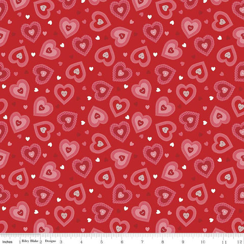 SALE Kewpie Love Hearts Red by Riley Blake Designs - Pink Valentine - Quilting Cotton Fabric - end of bolt pieces