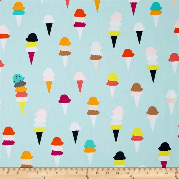 SALE I Scream You Scream Boardwalk Delight by Art Gallery - Mint Ice Cream Cones -  Quilting Cotton Fabric - choose your cut