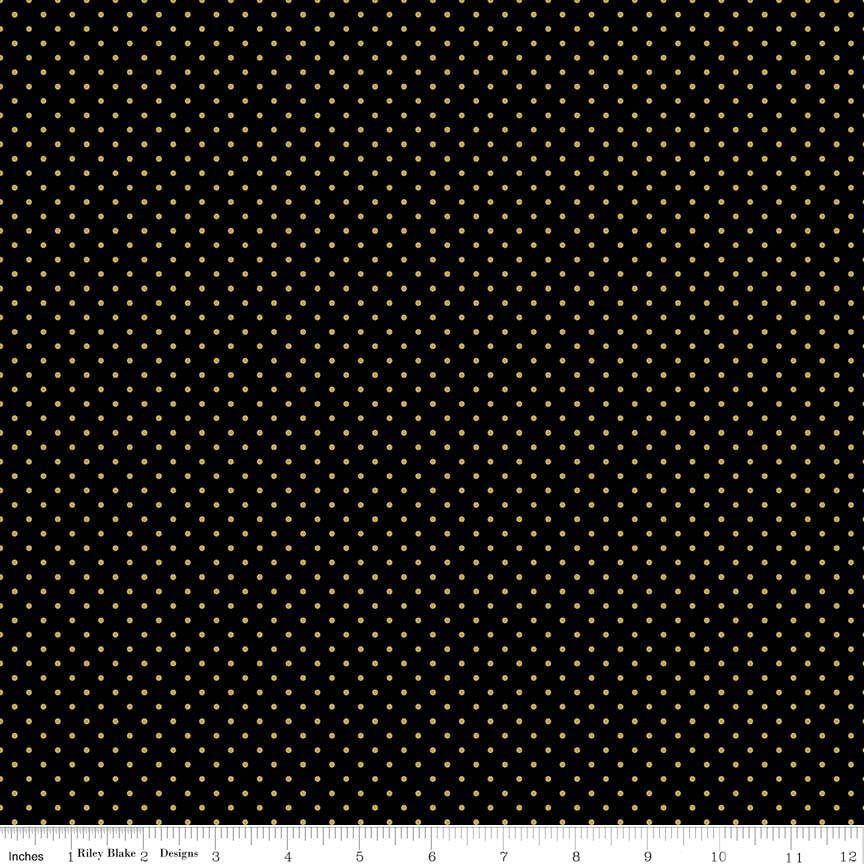 SALE Gold SPARKLE Swiss Dot on Black by Riley Blake Designs - Polka Dots Metallic - Quilting Cotton Fabric - choose your cut
