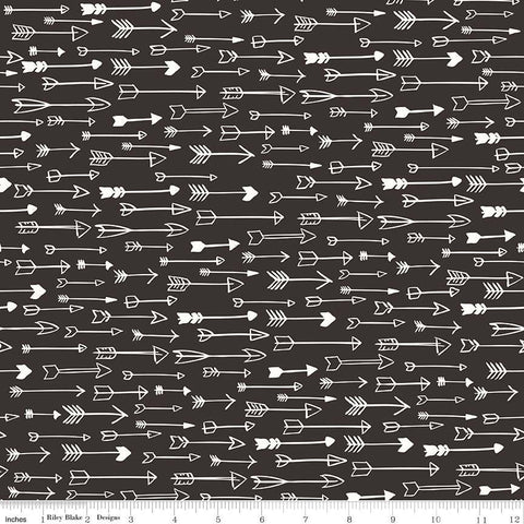Yes Please Arrows Black - Riley Blake Designs - Cream - Quilting Cotton Fabric