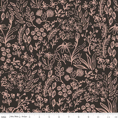 SALE Yes Please Main Rose Gold and Black SPARKLE - Riley Blake Designs - Floral Flowers - Quilting Cotton Fabric