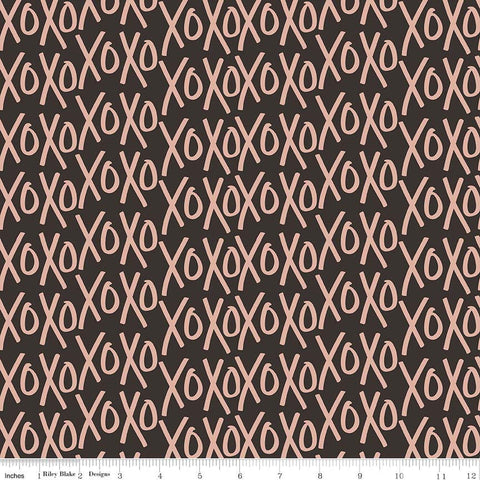SALE Yes Please XOs Rose Gold and Black SPARKLE - Riley Blake Designs - XOXO Metallic - Quilting Cotton Fabric