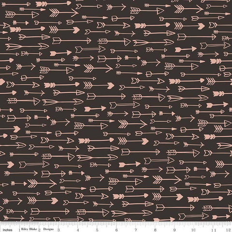 SALE Yes Please Arrows Rose Gold and Black SPARKLE - Riley Blake Designs - Metallic - Quilting Cotton Fabric