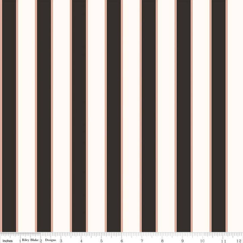 SALE Yes Please Stripes Rose Gold SPARKLE - Riley Blake Designs - Black Cream Metallic - Quilting Cotton Fabric