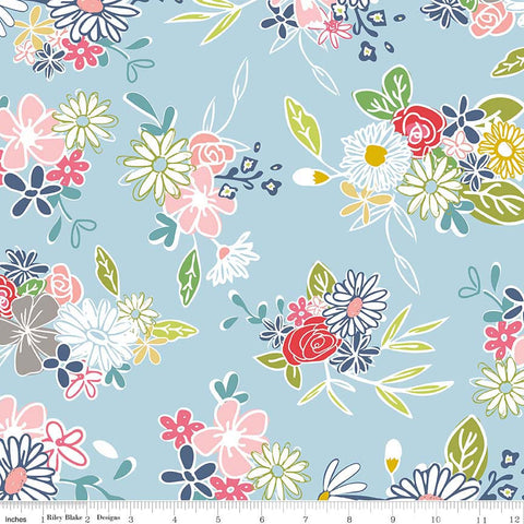 CLEARANCE Daisy Days Main Blue - Riley Blake Designs - Floral Flowers - Quilting Cotton Fabric - by the yard