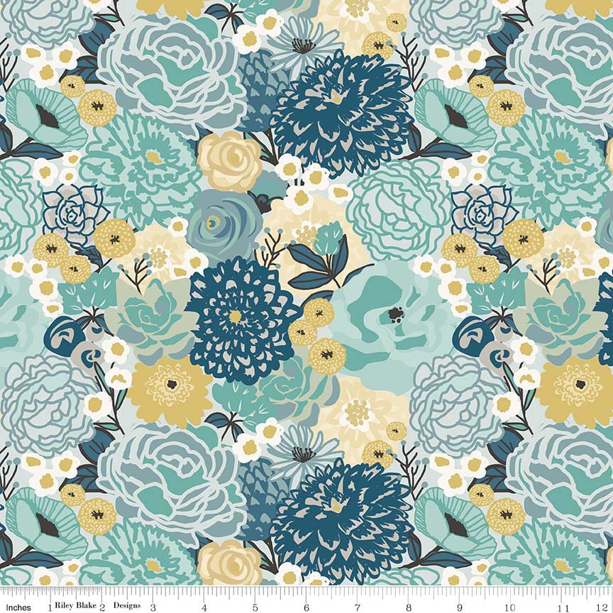 Ava Rose Main Blue - Riley Blake Designs - Floral Flowers - Quilting Cotton Fabric - end of bolt pieces