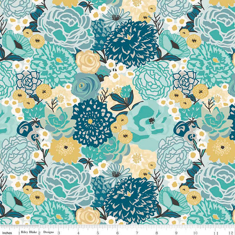 Ava Rose Main Blue - Riley Blake Designs - Floral Flowers - Quilting Cotton Fabric