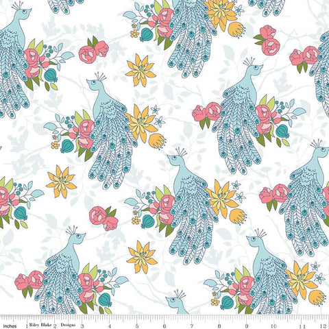 CLEARANCE Into the Garden Peacock White - Riley Blake Designs - Bird Floral Flowers - Quilting Cotton Fabric - by the yard