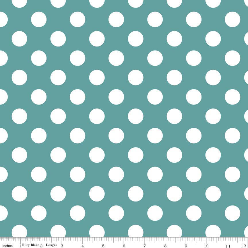 "SALE Teal Medium Dots 3/4"" by Riley Blake Designs - White on Teal Blue Green - Quilting Cotton Fabric - End of bolt pieces"