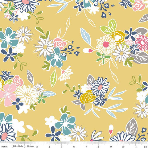 "Daisy Days Main Yellow - Riley Blake Designs - Floral Flowers - Quilting Cotton Fabric - 30"" end of bolt"