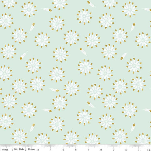 SALE Safari Party Feathers Mint SPARKLE - Riley Blake Designs - Green Gold Metallic - Quilting Cotton Fabric