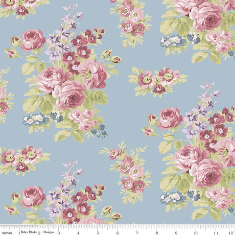 Anne of Green Gables Floral Blue - Riley Blake Designs - Penny Rose Fabrics - Flowers -Quilting Cotton Fabric - choose your cut
