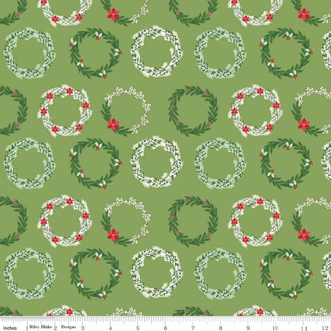 "Comfort and Joy Wreaths Green by Riley Blake Designs - Christmas Holiday Holly - Quilting Cotton Fabric - 30"" end of bolt piece"