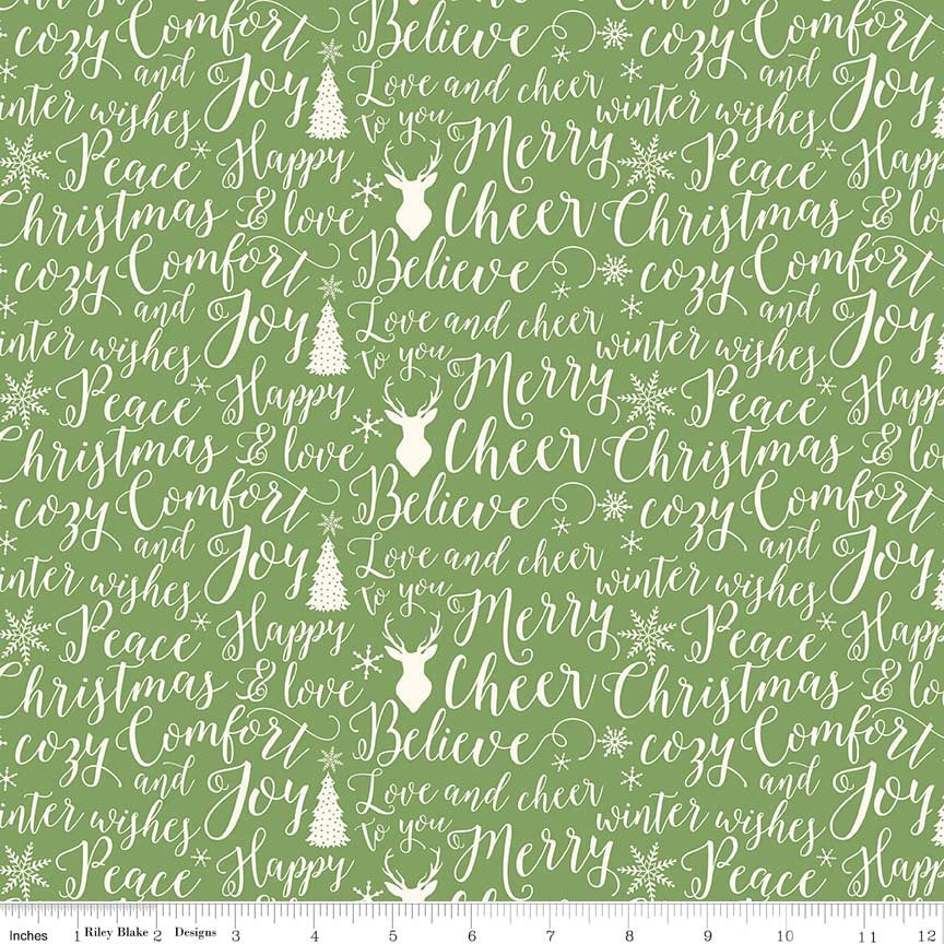 Comfort and Joy Words Green by Riley Blake Designs - Christmas Holiday Text - Quilting Cotton Fabric - choose your cut