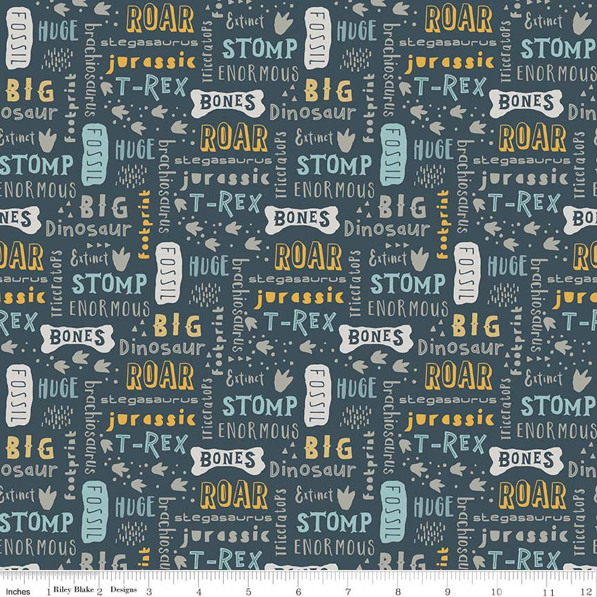 SALE Fossil Rim Words Navy - Riley Blake Designs - Dinosaurs Animals Text Blue - Quilting Cotton Fabric - choose your cut