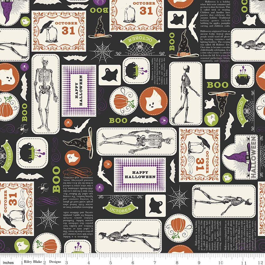 Eek Boo Shriek Main Black - Riley Blake Designs - Halloween Skeleton - Quilting Cotton Fabric - choose your cut