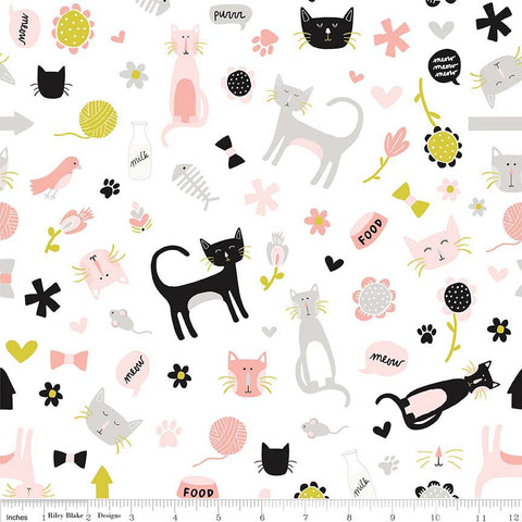 Meow Main White - Riley Blake Designs - Kitty Cats - Quilting Cotton Fabric - choose your cut