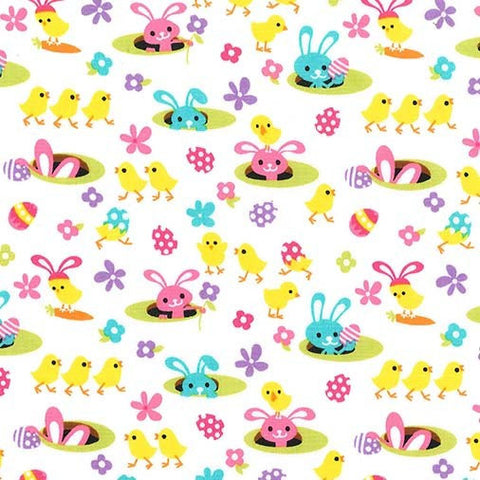 SALE Easter Gnomes Spring Meadow White by Michael Miller - Chicks Bunnies  - Quilting Cotton Fabric - choose your cut