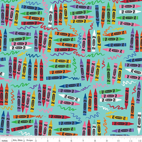 Art Box Crayons Aqua by Riley Blake Designs - Blue Crayola Crayons School Crafts - Quilting Cotton Fabric - end of bolt pieces