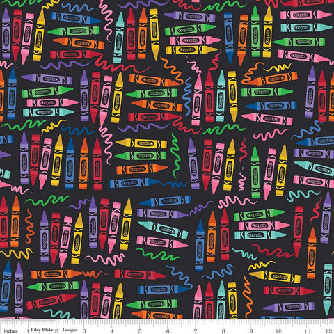 Art Box Crayons Black by Riley Blake Designs - Crayola Crayons School Crafts - Quilting Cotton Fabric - choose your cut