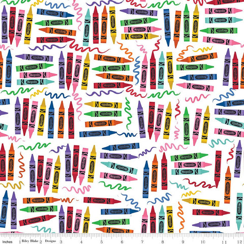 Art Box Crayons White by Riley Blake Designs - Crayola Crayons School Crafts - Quilting Cotton Fabric - choose your cut