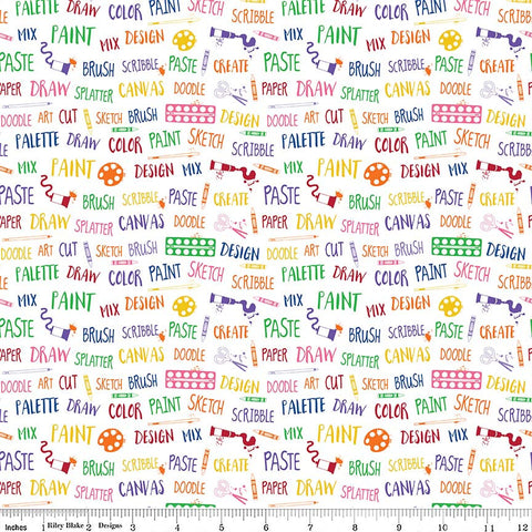 SALE Art Box Words White by Riley Blake Designs - Crayola Rainbow Text School Crafts - Quilting Cotton Fabric - choose your cut