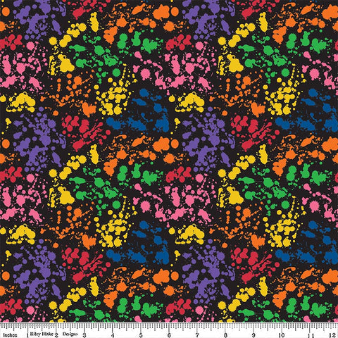 Art Box Splatter Black by Riley Blake Designs - Crayola Rainbow Paint School Crafts - Quilting Cotton Fabric - choose your cut
