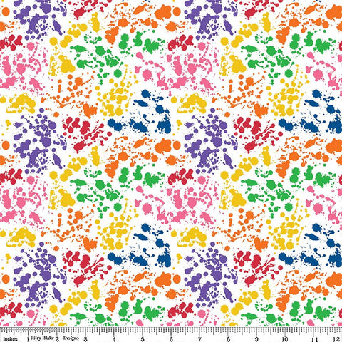 Art Box Splatter White by Riley Blake Designs - Crayola Rainbow Paint School Crafts - Quilting Cotton Fabric - choose your cut