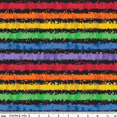 Art Box Stripe Black by Riley Blake Designs - Crayola Rainbow School Crafts - Quilting Cotton Fabric