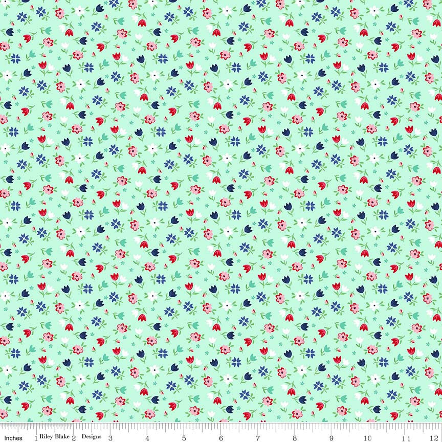A Little Sweetness Floral Mint - Riley Blake Designs - Green Flowers - Jersey KNIT cotton lycra stretch fabric