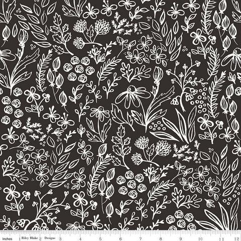 Yes Please Main Black - Riley Blake Designs - Black and Cream Floral Flowers - Quilting Cotton Fabric