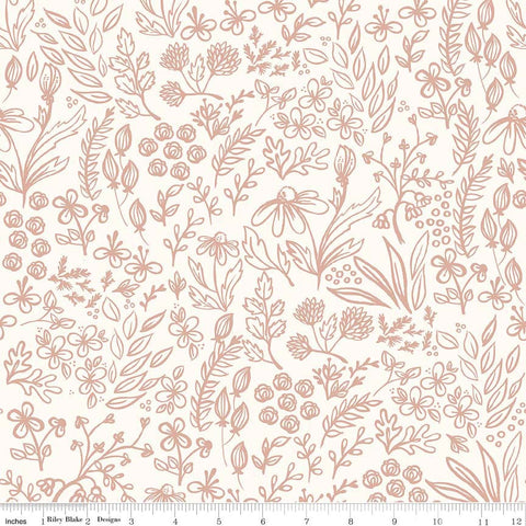SALE Yes Please Main Cream and Rose Gold SPARKLE - Riley Blake Designs - Floral Flowers - Quilting Cotton Fabric