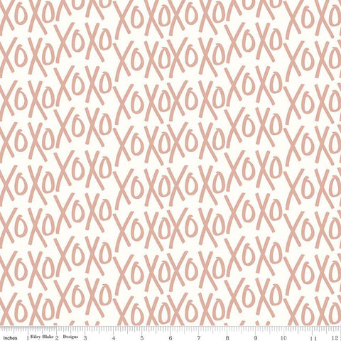 SALE Yes Please XOs Cream and Rose Gold SPARKLE - Riley Blake Designs - XOXO Metallic - Quilting Cotton Fabric