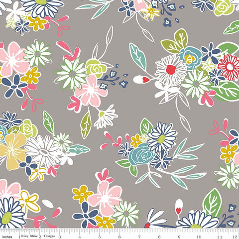 Daisy Days Main Gray - Riley Blake Designs - Floral Flowers - Quilting Cotton Fabric