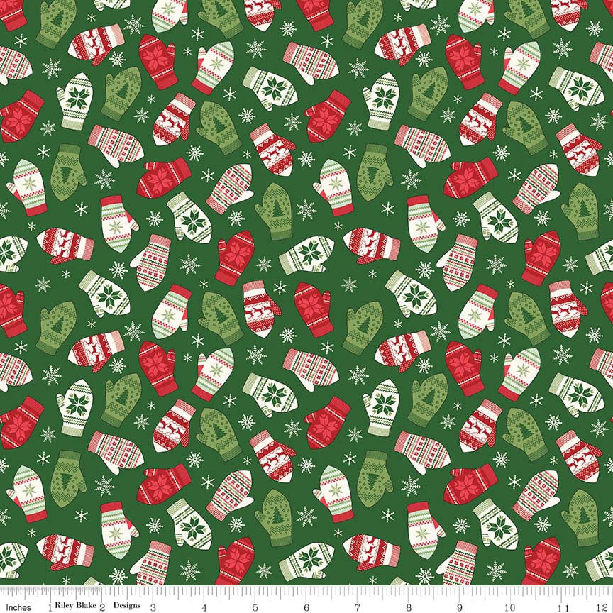 Comfort and Joy Mittens Green by Riley Blake Designs - Christmas Holiday Red - Quilting Cotton Fabric - choose your cut