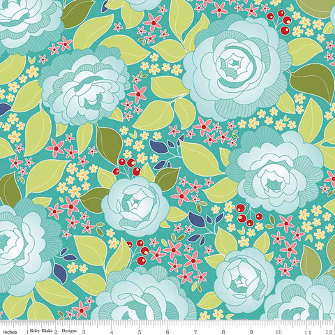 CLEARANCE Into the Garden Main Teal - Riley Blake Designs - Floral Flowers - Quilting Cotton Fabric - by the yard