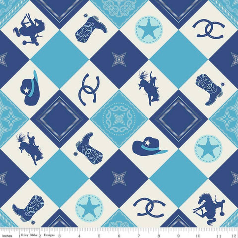 CLEARANCE Cowboy Main Blue - Horses Cream Hats Horseshoes Boots - Riley Blake Designs - Quilting Cotton Fabric - by the yard