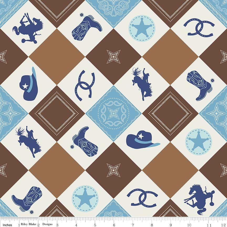 SALE Cowboy Main Brown - Cream Blue Horses Hats Horseshoes Boots - Riley Blake Designs - Quilting Cotton Fabric - choose your cut