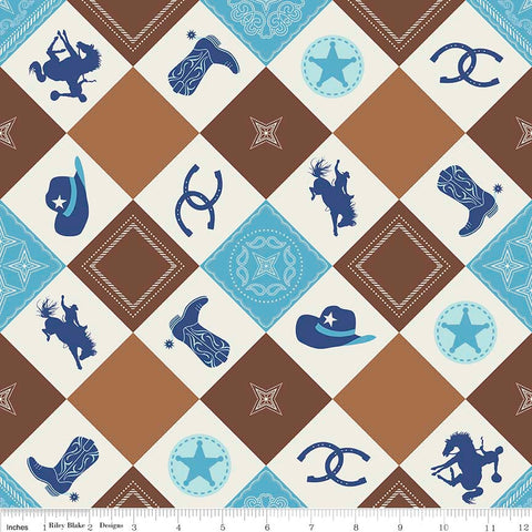 CLEARANCE Cowboy Main Brown - Cream Blue Horses Hats Horseshoes Boots - Riley Blake Designs - Quilting Cotton Fabric - by the yard