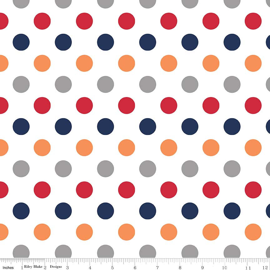 "Boy on White Medium Dots 3/4"" by Riley Blake Designs - Red Navy Gray Polka Dots - Quilting Cotton Fabric - choose your cut"